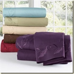 Brylanehome Leaf Microfiber Embroidered Sheet